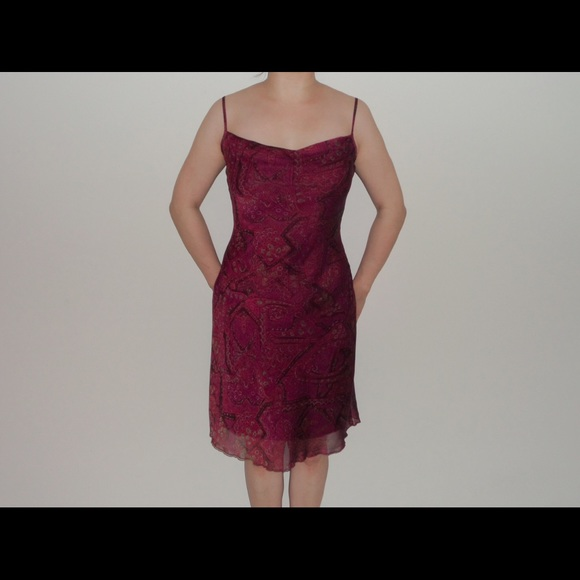 Floral Burgundy Dress Size S